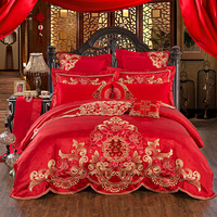 Egyptian cotton Wedding Tribute Silk Jacquard luxury Bedding Sets Bed Sheet Queen King size 4/6pcs