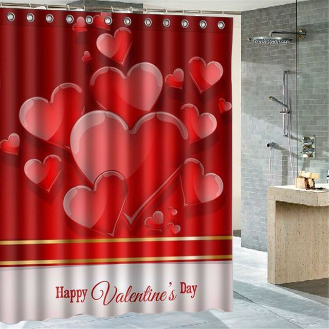 60 Inch Happy Valentines Day Shower Curtain Screen Cover Polyester Home Bathroom Decorative Textiles Accessories 180X150cm