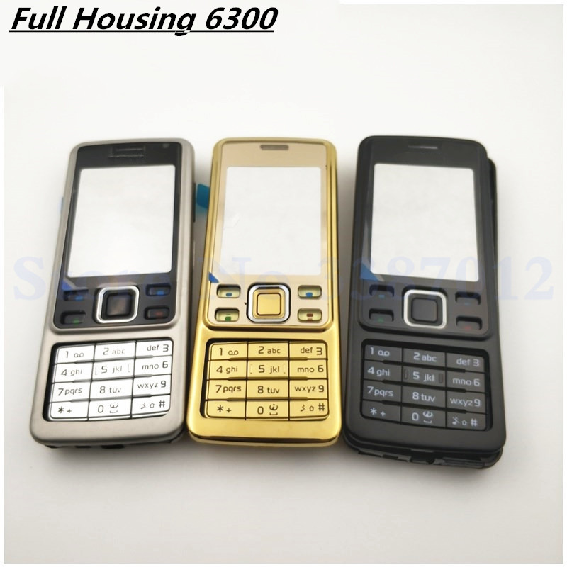 1Pcs Good Original New For <font><b>Nokia</b></font> <font><b>6300</b></font> <font><b>Housing</b></font> Cover Door Frame + Battery Back Cover + Keypad + Logo image