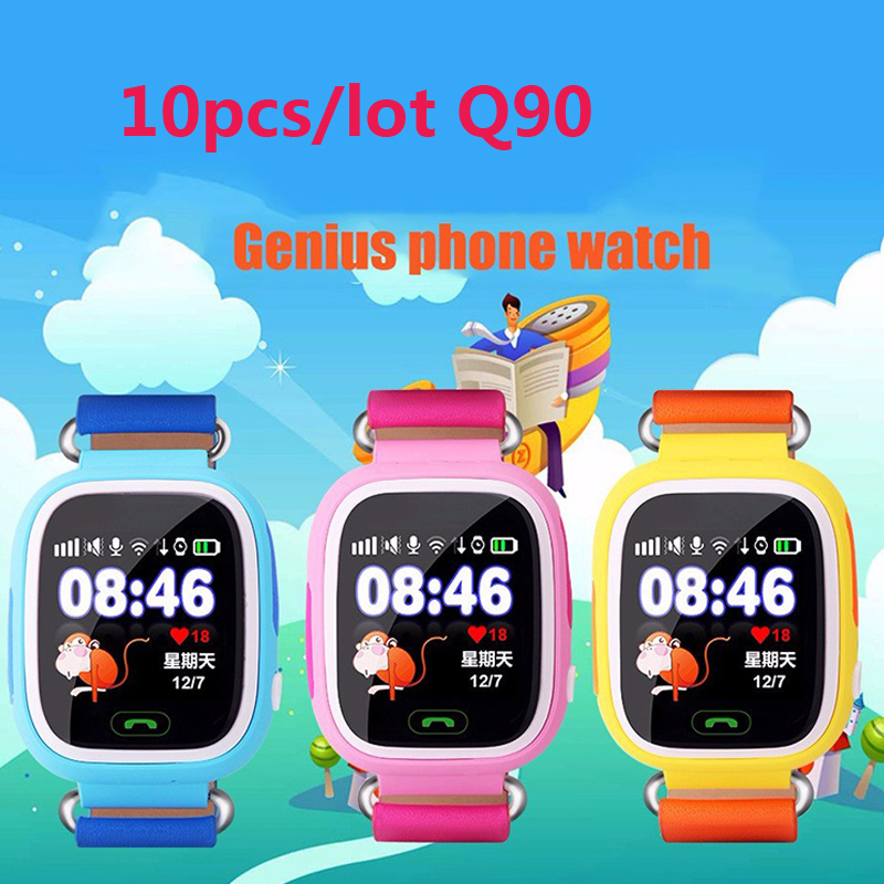 10pcs touch Screen Q90 Smart Watch SOS Call Location Finder Locator Tracker GPS Kid Safe Anti-lost for iPhone Android&ios Phone