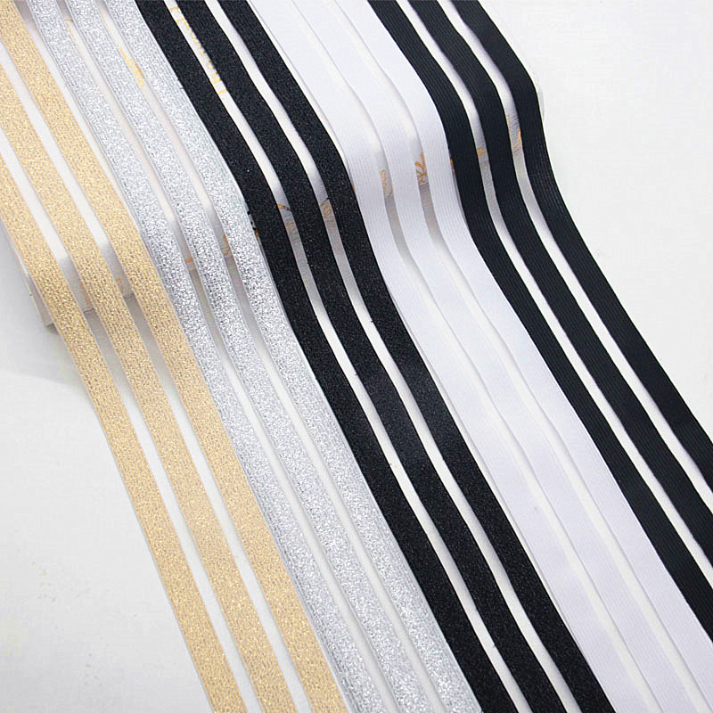 50mm 90mm Gold Silver Lace Elastic Band Glitter Mesh Stripe Rubber Band Nylon Webbing Garment Sewing Accessories Width 5cm 9cm