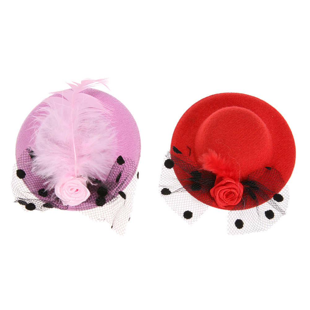 2 Pcs New Fashion Ribbon Flower Cute Party Cap Hairpins Festival Hat Hair Clip With Fur Children Hair Accessories (Pink + Red)