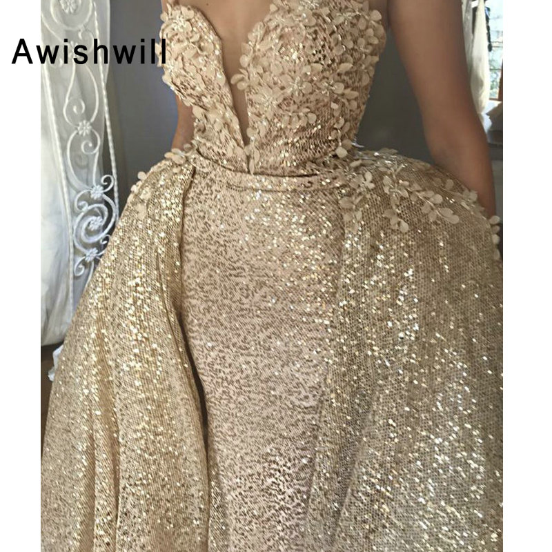 New Arrival Sequin Prom Dress With Detachable Train Appliques Sleeveless Gala Formal Gowns Women Evening Dress Long