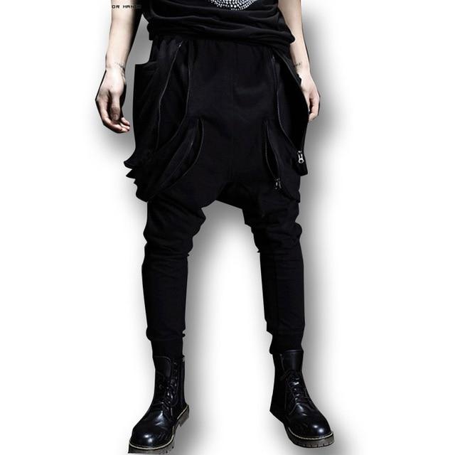 High Street Fashion Hiphop Punk Men Harem Pants Jogger Sweatpants Zipper Big Pocket Male Slim Fit Boots Trousers