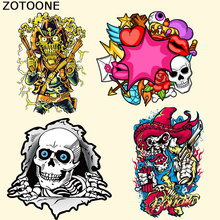 ZOTOONE Punk Patches DIY Clothing Stickers West Coat Skull Patch Iron On T-shirt Dresses Sweater A-level Washable Appliqued F