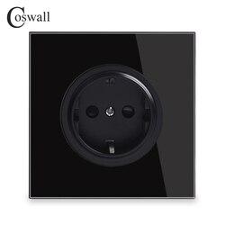 16A Coswall Black Crystal Painel de Vidro Padrão DA UE Parede Tomada Tomada Aterrada Com Trava de Proteção à Criança R11 Series