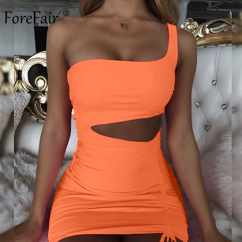 Forefair One Shoulder <font><b>Sexy</b></font> Bodycon <font><b>Dress</b></font> Cut <font><b>Out</b></font> Strapless <font><b>Bandage</b></font> Ruched Backless Pink Orange Party Club Summer <font><b>Dress</b></font> Women image