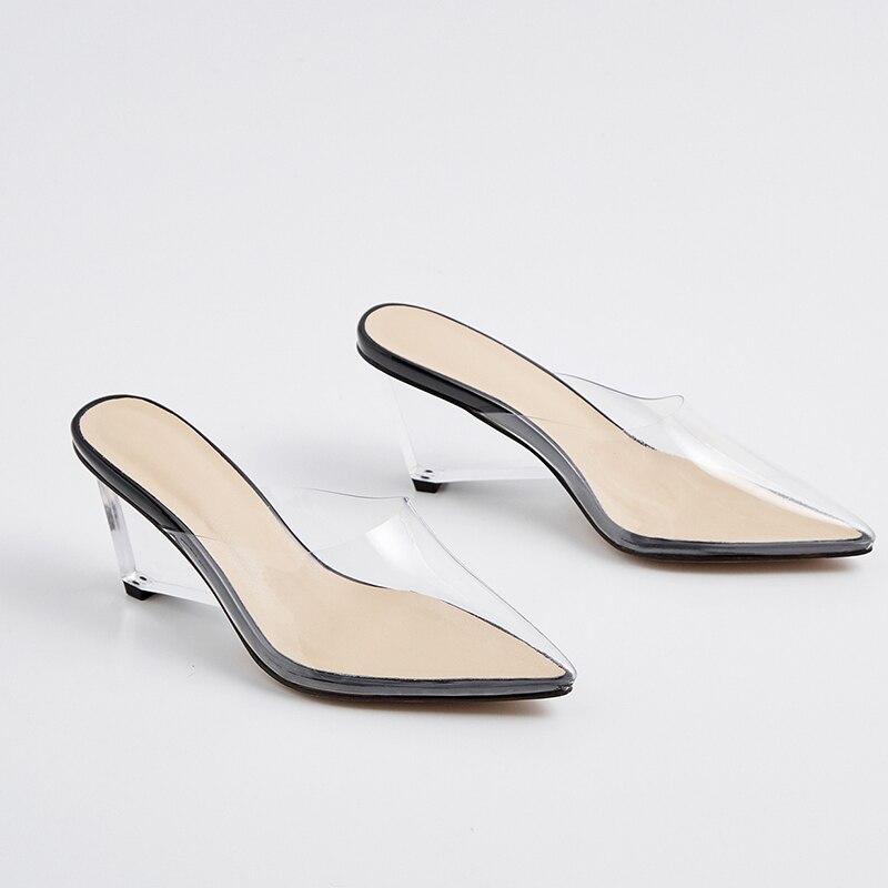 ISNOM الصيف شفافة غير عادية كعب عالية النعال امرأة وأشار اصبع القدم الأحذية أزياء PVC الإناث الشرائح أحذية البغال أحذية النساء-في شباشب من أحذية على  مجموعة 2