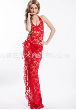 Sexy Product Women Summer Style Erotic Lingerie Lace Sexy Strappy Long Robe Transparent Floral Erotic Night Dress lenceria AB326