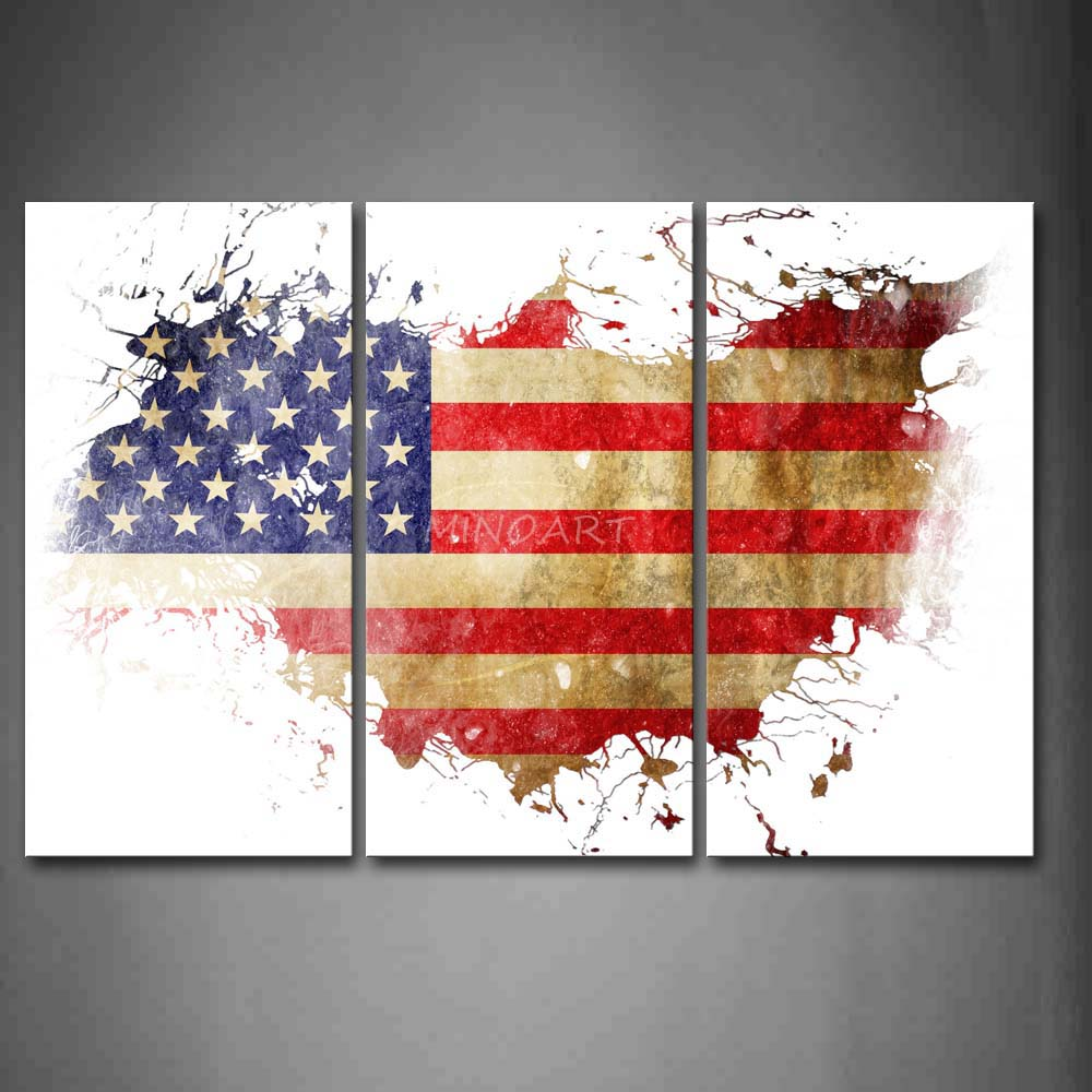 3 piece wall art painting american flag in its country 39 s for Painted american flag wall art