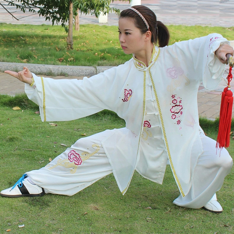 Embroidered Tai Chi Clothing Morning Exercise Costume Embroidery Veil Women Kung Fu Performance Clothing