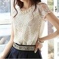 Nueva camiseta de la manera de las mujeres clothing delgado tops de flores de encaje de manga corta camiseta femenina
