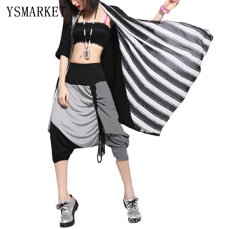 New Streetwear Casual Trendy Big Drop Crotch Pants Hot Hip Hop Women Loose Joggers Harem Pants Baggy Capri Onesize Trouser H1303