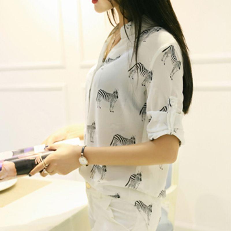 Oficina Mujeres Señora Camisas Nueva Nave Slim Blusa 2018 b A Impresión Chiffon Elegante Blusas Larga Camisa De Nosotros Carta Tops Manga qXpOwgpS6