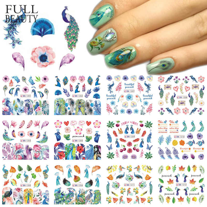 12 Designs Nail Sticker Slider Colorful Peacock Leaf Flower Water Decal Wraps Nail Art Decor Beauty Foil Manicure CHBN1201-1212