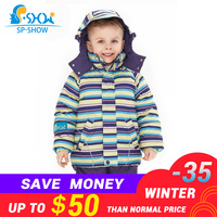 2019 SP SHOW New Winter Children Boys And Girls Warm Thick Down Jacket Ski Suit Jacket Windproof Russian Fashion Coat+Trousers