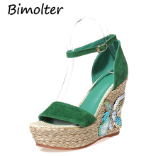 Bimolter Ankle-Wrap Summer Sheep Suede Women Wedge Sandals Open Peep Toe Zapatos Mujer Platform High Heels NC032