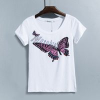 2017 summer women's large size loose Diamond cotton T-shirt Female casual plus size butterfly print crop tops tees 3XL