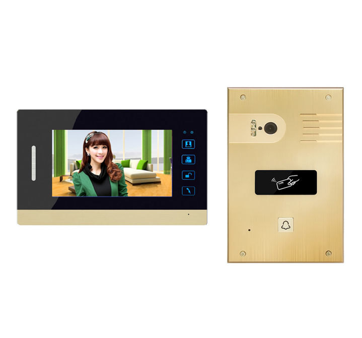 SMTVDP 2018 New Video Doorphone 7Touch Key Intercom System w/t FRID Panel support extra CCTV Camera 1V1