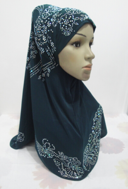 H968 latest muslim one piecehijab with many rhinestones islamic scarf fast delivery