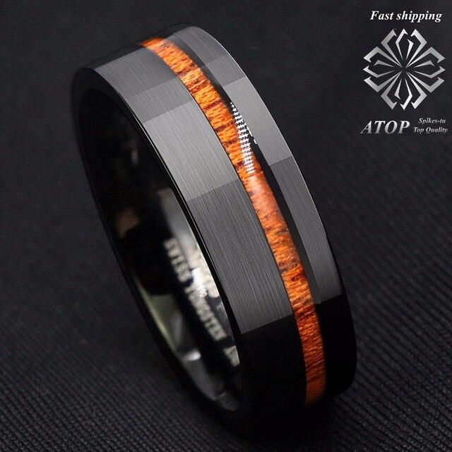 8mm Black Brushed Tungsten Carbide Ring Off Center Koa Wood Wedding Band