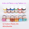 3 Bottles Temporary Airbrush Tattoo Makeup Pearly Ink For Body Art Painting Transferable Tattoo Pigment Supplies 40ml/Bottle