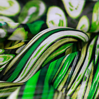 Colorful swirl silk chiffon dress elegant thin summer silk custom clothing fabrics