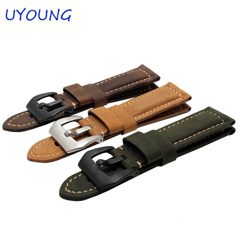 Correa de reloj de cuero genuino de calidad para Garmin Fenix 3 26 mm Correa de reloj de cuero para hombre Negro Marrón Relojes inteligentes accesorios