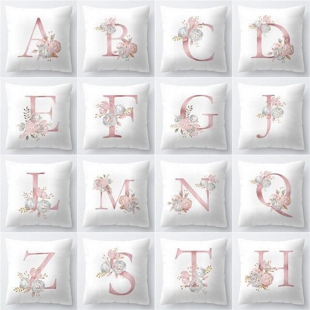 Cuscino Coperture Nordic Rosa Lettera di Alfabeto Decorativo Cuscini Cuscino Cop