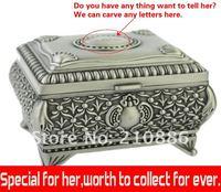 Klassieke mode metalen sieraden cas/sieraden doos/met plank, roos bloem, gratis graveren woorden, cadeau voor bruiloft bruidsmeisje gryde