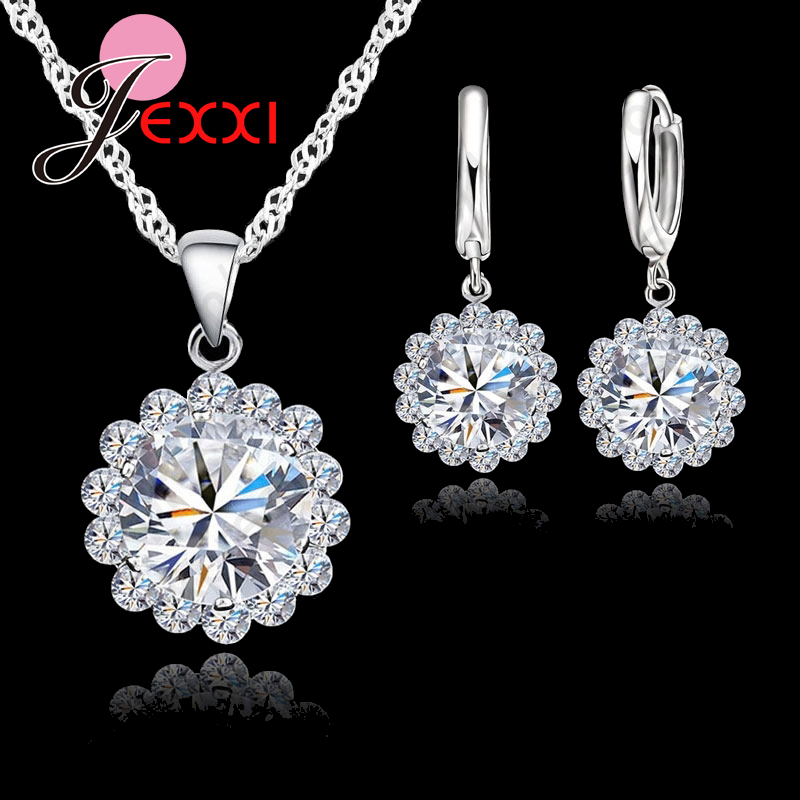 Wholesale Price Wedding Jewelry Set  Pure Silver Cubic Zircon Necklace Pendant/Earrings Fashionable Women Set
