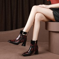 MLJUESE 2019 women ankle boots cow leather buckle strap Totem winter warm fur boots high heel women boots size 33 43