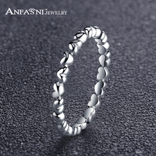 ANFASNI 100% S925 Sterling Antique Silver Ring Love Heart Silver Wedding&Engagement Rings Jewelry For Women PSRI0003-B