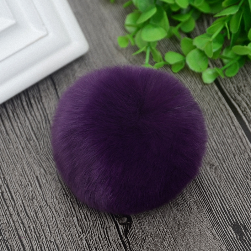 8cm Nature Genuine Rex Rabbit Fur Ball Pom Pom Fluffy DIY Winter Hat   Skullies     Beanies   Knitted Cap Pompoms TWF001-purple