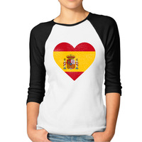 Cool Style Spain Flag Heart Spanish T Shirts Women Personality Printed Cotton T Shirt O Neck