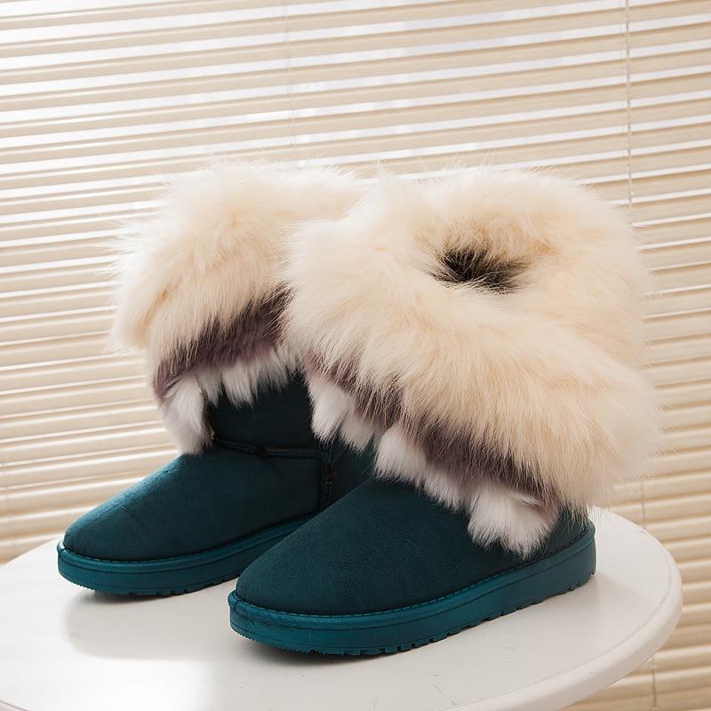 2016 Fashion Fox Rabbit Women Winter Boots Fur Slip on Blue Snow Boots Female Mid Calf