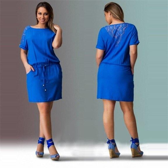 2019 Navy Summer Dress Plus Size Women Clothing Large Size Loose ...