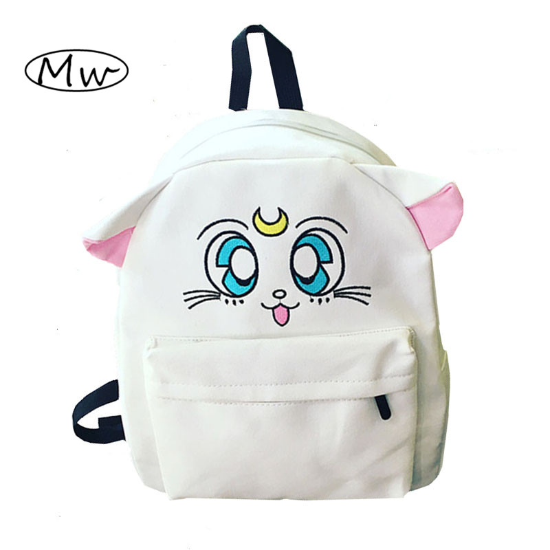 Japanese Cartoon Canvas Backpack Sailor Moon Backpack Cute Fold Cat Shoulder Bag School Bags For Teenager
