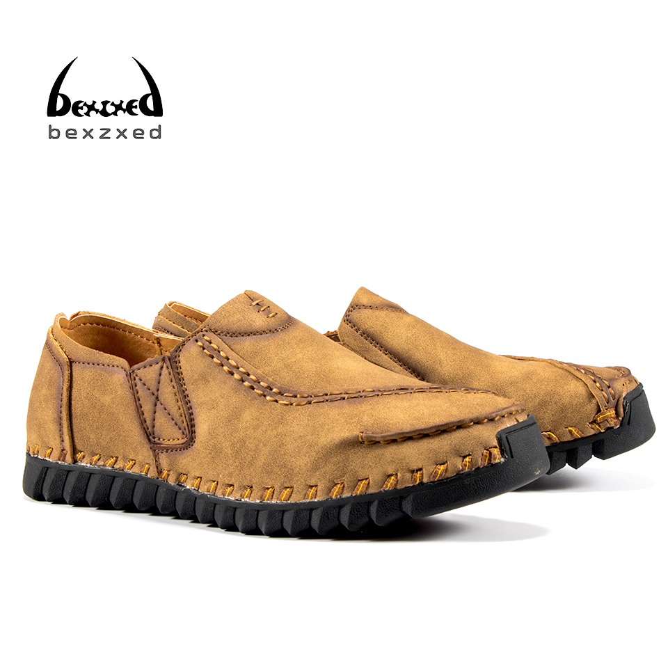 Bexzxed handmade New Arrival Genuine Leather Fashion Mens Casual Shoes Cowhide Driving Moccasins Slip On Loafers Men Flat Shoes pl us size 38 47 handmade genuine leather mens shoes casual men loafers fashion breathable driving shoes slip on moccasins