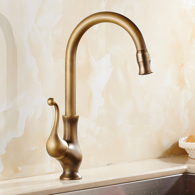 Free shipping new style antique brass kitchen faucet Luxury kitchen sink faucet 360 degree basin faucets mixer tap hot and cold new arrival tall bathroom sink faucet mixer cold and hot kitchen tap single hole water tap kitchen faucet torneira cozinha