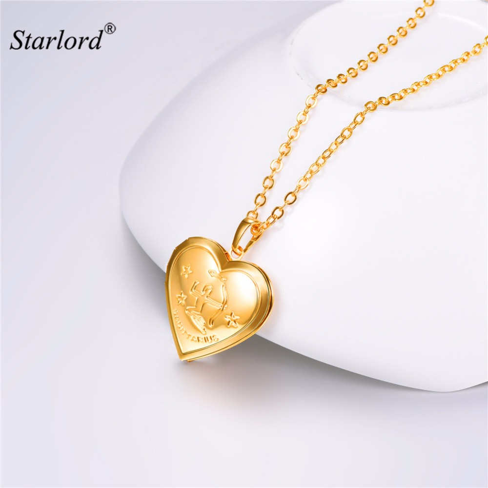 Sagittarius Necklace Heart Photo Locket Pendant Necklace Gold/Silver Color Zodiac Charm Memory Locket Necklace For Women P3215 locket