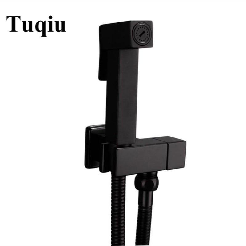 Toilet Bidet Faucet square black Single Cold Bathroom Toilet Shower Blow fed Spray Gun Nozzle Bidet