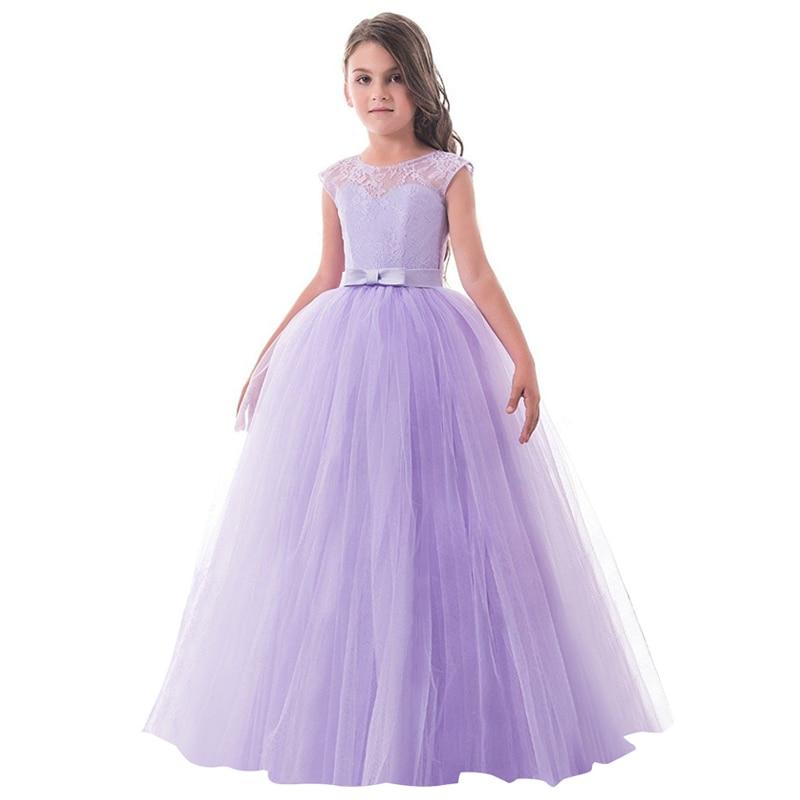 Vestido largo niños Encaje princesa vestido de niña para la boda ...