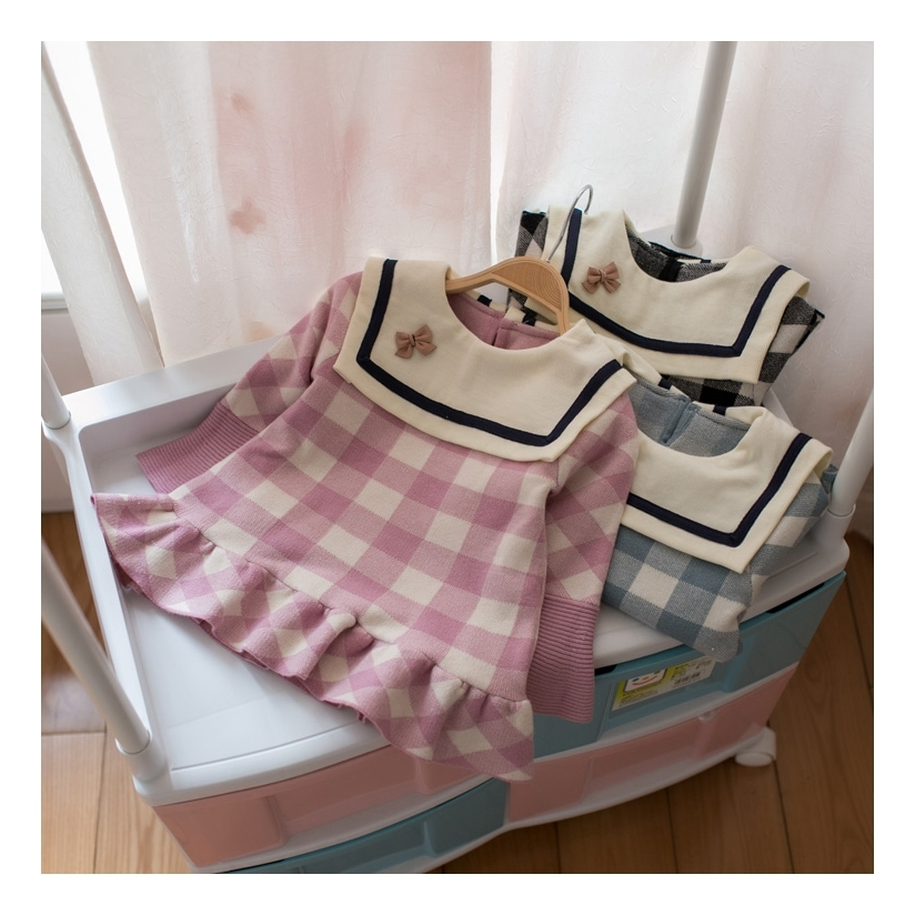 Princess Girls Dress 2017 New Fashion Spring&Autumn Plaid Navy Collar Children Long Sleeve Baby Girl Party Dresses For Kids new arrival spring autumn children s dress girl long sleeve lace dress party dresses girl girls clothes 5 10y