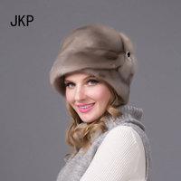 JKP 2018 Real mink fur hats for winter women fur cap with diamond fashion mink fur Cap fashion good quality elegant hat DHY 69