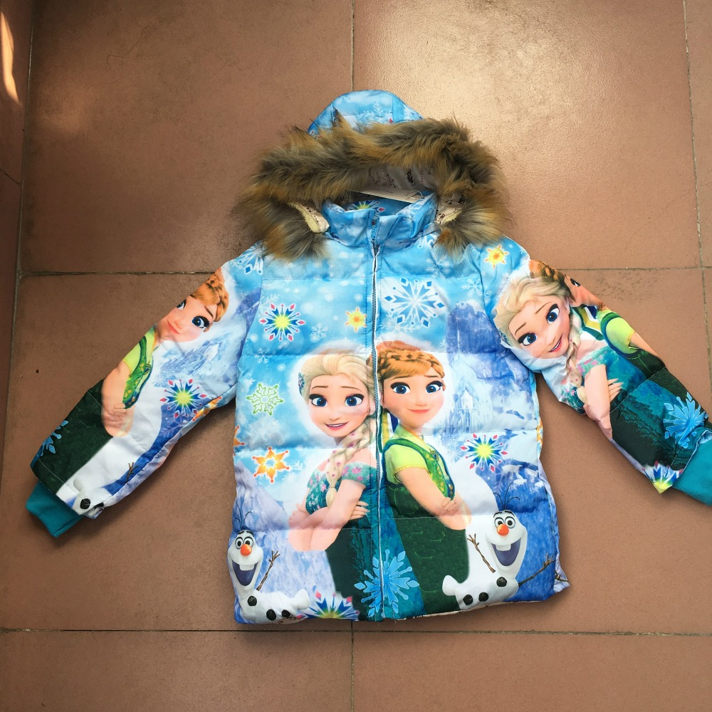 Hot Sale Kids Freezing Anna Elsa Down Jacket Fashion Girl's Fur Hooded Down Jacket Outfit Thicken Warm Cotton Jacket For Girls