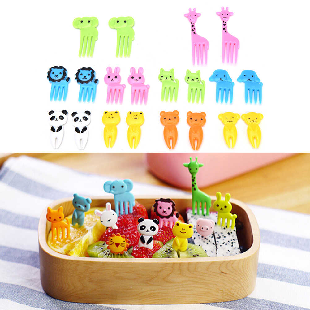 10 Stks/set Animal Farm Fruit Vork Mini Cartoon Kinderen Snack Cake Dessert Pick Tandenstoker Bento Lunches Party Decoratie