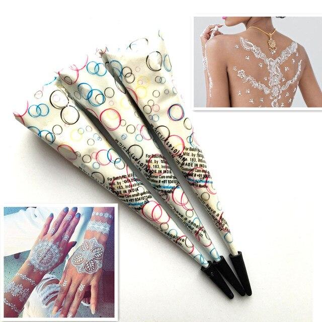 3 Pcs Lot Warna Putih Alami Mehndi Henna Tato Paste Cone Anti Air
