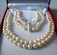 2 Linhas 8 9 MM White AKOYA SALTWATER Pearl Necklace 17 18 Pearls Jewelry Making Natural
