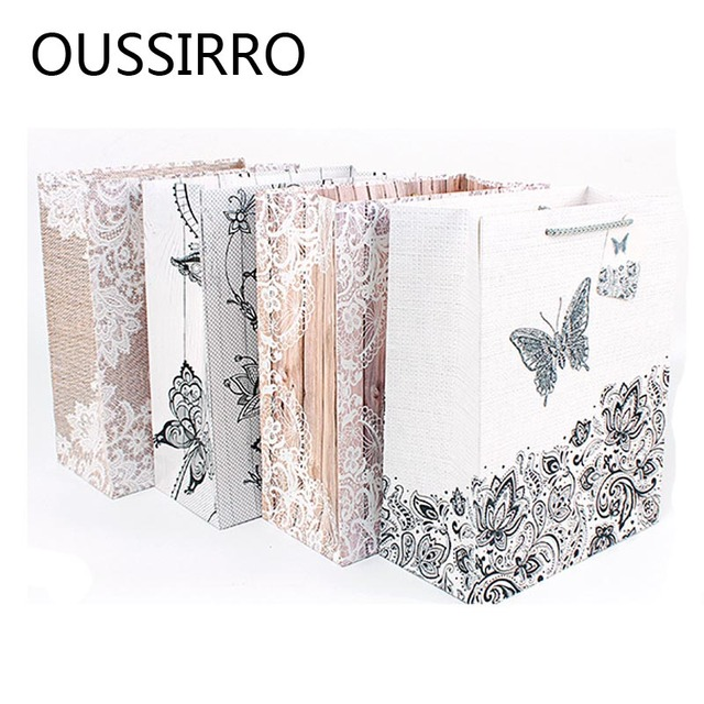 Creative Fresh Butterfly Lace Yarn White Cardboard Gift Bag Wedding Birthday Party Decoration Packaging Bags Holiday Gift Bag